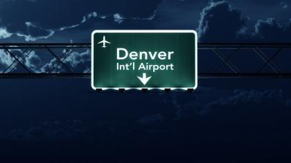 Denver USA Airport Highway Sign at Night 3D Illustration